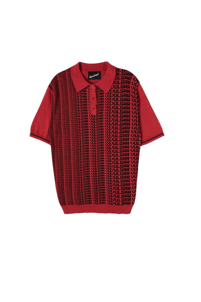 Vulgar Knit Polo Red