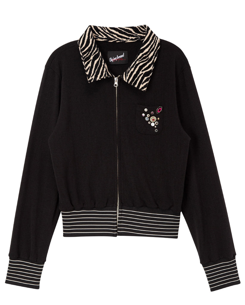 Zip-Up Cardigan Black