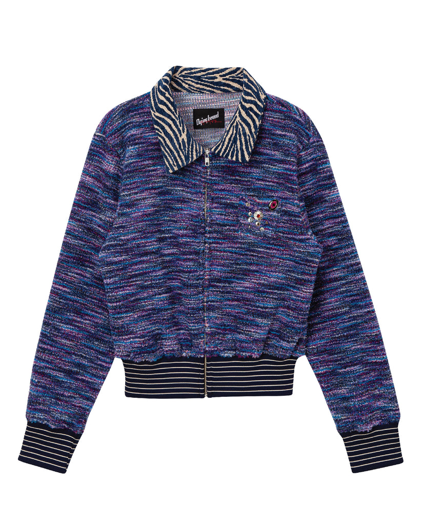 Zip-Up Cardigan Blue