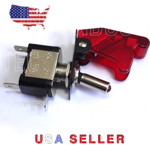 Race Car Toggle Switch - 12V DC Red LED Aircraft Flip Safety Cover 20 AMP NOS