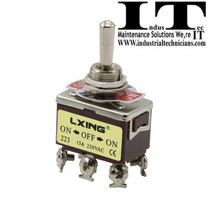 LXING 20A @ 125 VAC - DPDT 6 screws On/Off/On Toggle Switch Momentary 3 Position 12V DC