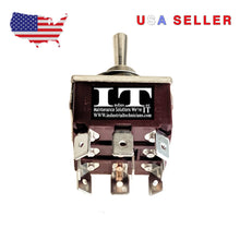 Load image into Gallery viewer, IndusTec E-TEN303 KN3C-303 9 Quick Plug TPDT Maintained 3 Position Toggle Switch
