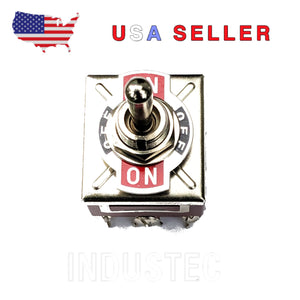 IndusTec E-TEN303 KN3C-303 9 .250 Pin TPDT Maintained 3 Position Toggle Switch
