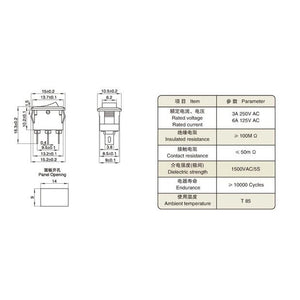 Mini Rocker Switch SPST 2 Pin 6A Specifications
