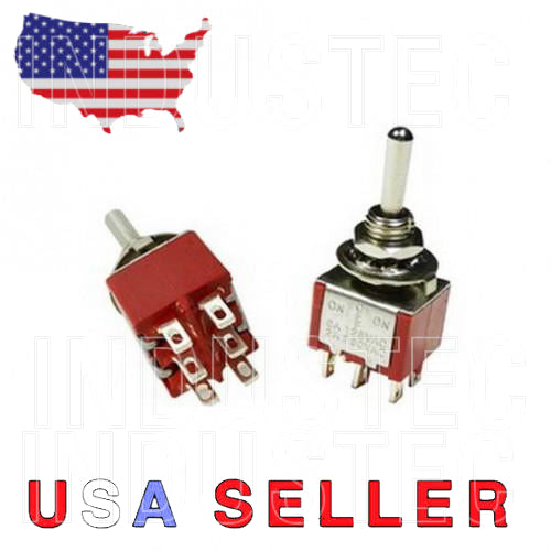 IndusTec DPDT Momentary Mini - Toggle Switch (ON)-OFF-(ON) 6 Solder pins side and top
