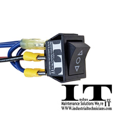 Load image into Gallery viewer, Motor Polarity - Reversing Maintained Rocker Switch 12 AWG Wires top view
