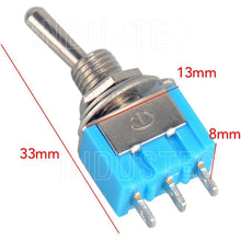 Load image into Gallery viewer, IndusTec Toggle  Switch 6A - ON/ON 2 Position SPDT MTS-102 3 pin Guitar 12V 24V