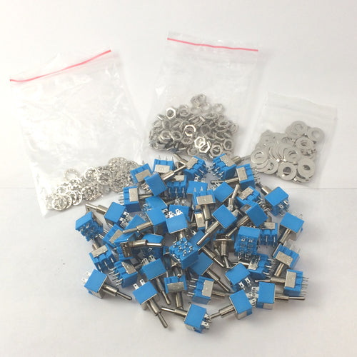 (50) 2 Pos DPDT Mini Toggle Switch ON ON 6 Pins / Lug 125V AC 6A Guitar Project