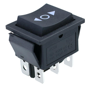 DPDT 20 AMP Continuous - Momentary Rocker Switch polarity 6 Pin 3 positions < O >