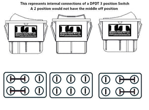 DPDT 20 AMP Continous - 6 Pin 3 Position Momentary Rocker Switch polarity