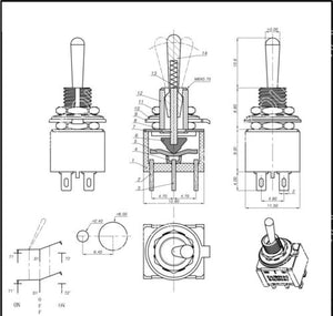 IndusTec DPDT Mini Toggle - Switch Maintained ON/OFF/ON MTS-203 12V 24V schematic