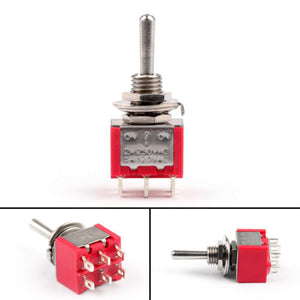IndusTec DPDT Momentary Mini - Toggle Switch (ON)-OFF-(ON) 6 Solder pins 3 views