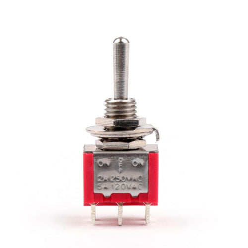 IndusTec DPDT Momentary Mini - Toggle Switch (ON)-OFF-(ON) 6 Solder pins front side