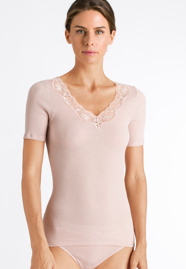 Lace Delight - Cotton Short Sleeved Top - HANRO