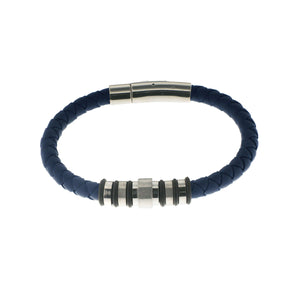 Herringbone Round Weave Bracelet in Navy Blue