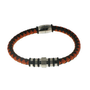 Herringbone Round Weave Bracelet in Orange/Brown