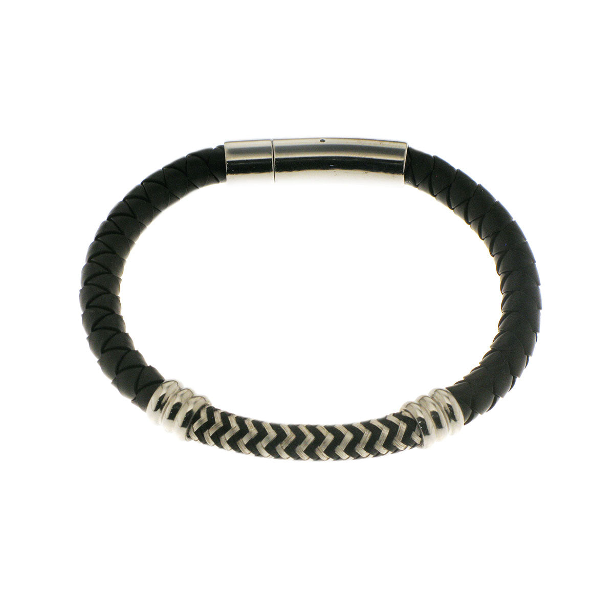 Herringbone Round Weave Bracelet in Black