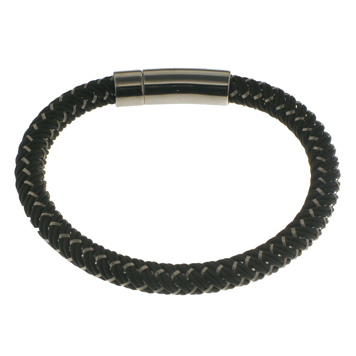 Herringbone Round Weave Bracelet in Black/Stainless