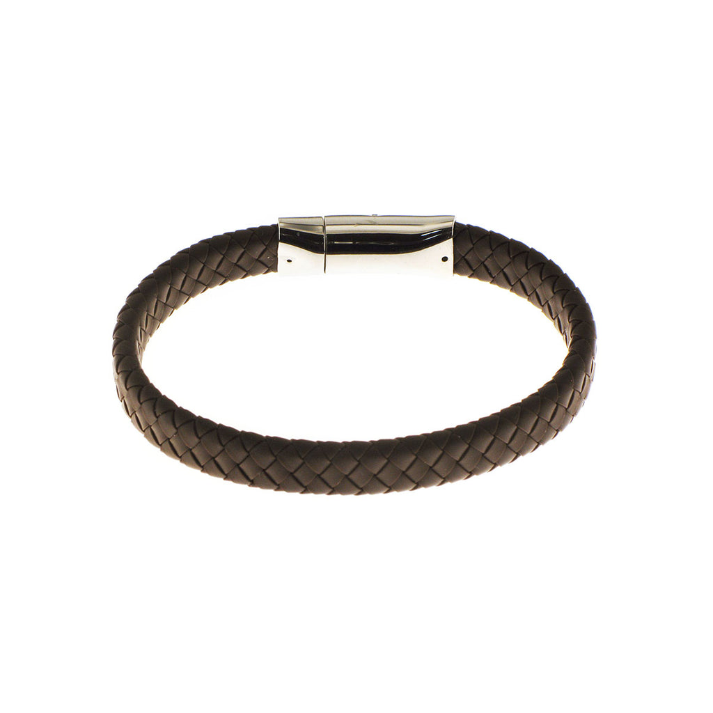 Herringbone Silicone Flat Weave Bracelet in Brown