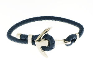 Anchor Bracelet - Navy Blue / Silver Accent