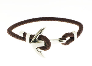 Anchor Bracelet - Brown / Silver Accent