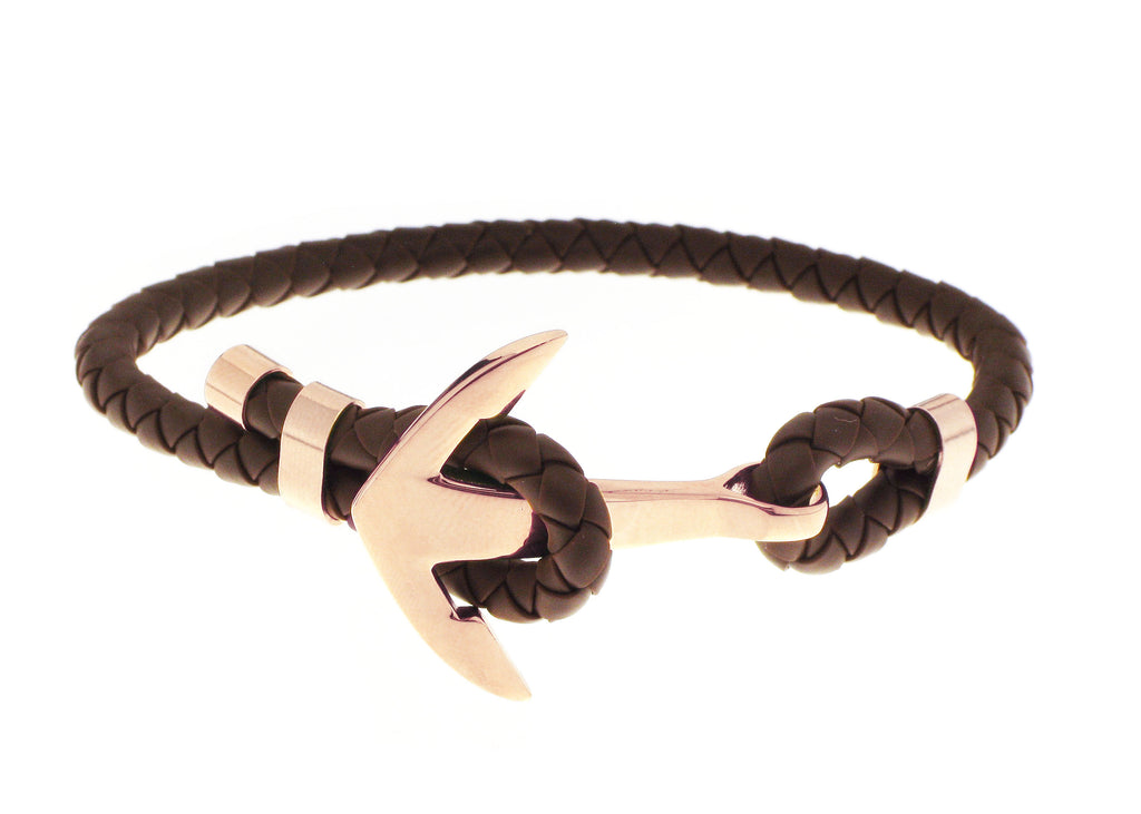 Anchor Bracelet - Brown / Gold Accent