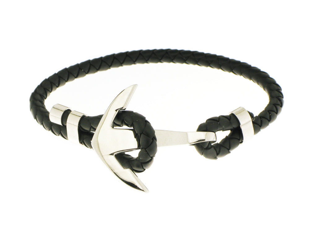 Anchor Bracelet - Black / Silver Accent