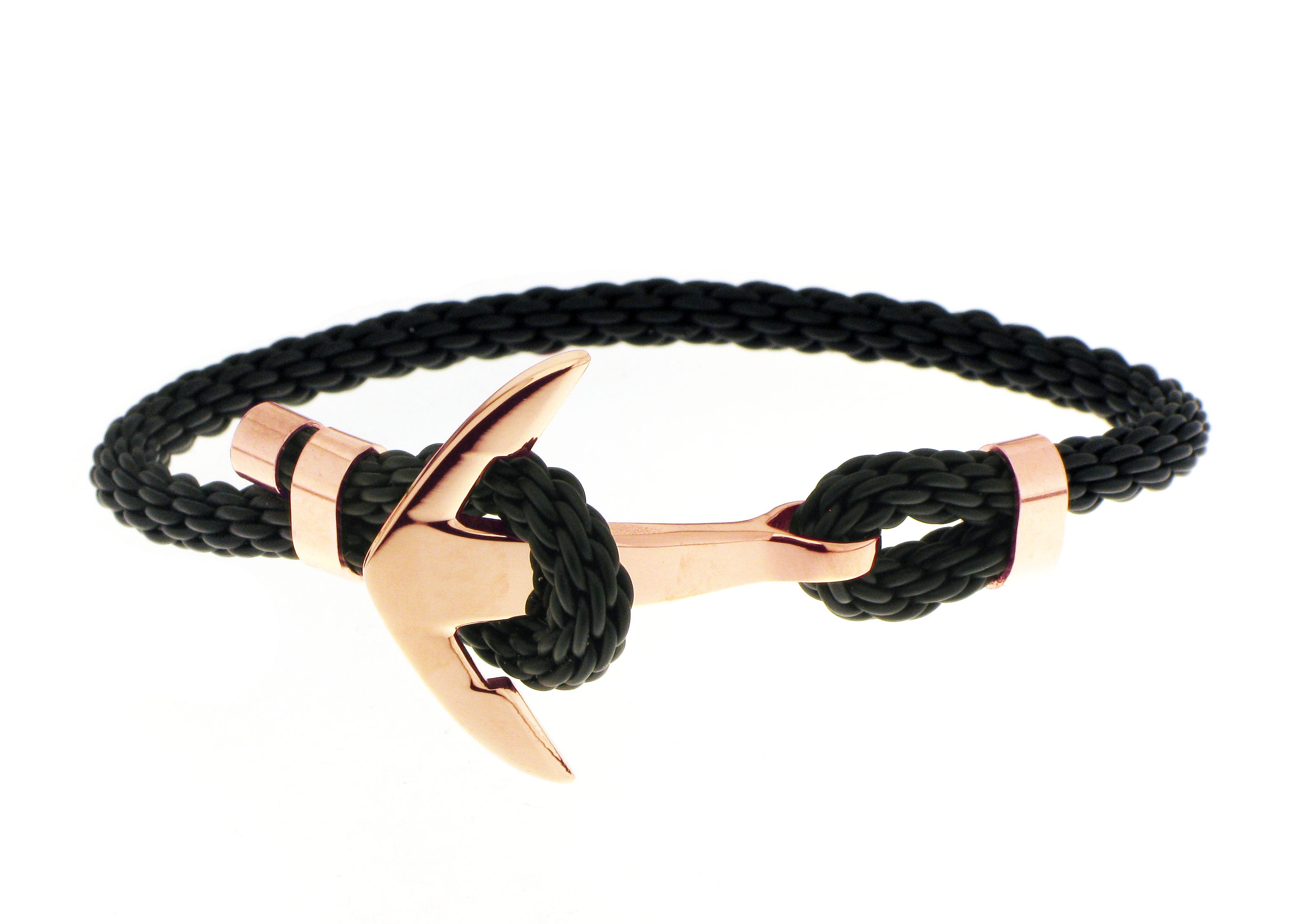 Anchor Bracelet - Black / Rose Gold Accent