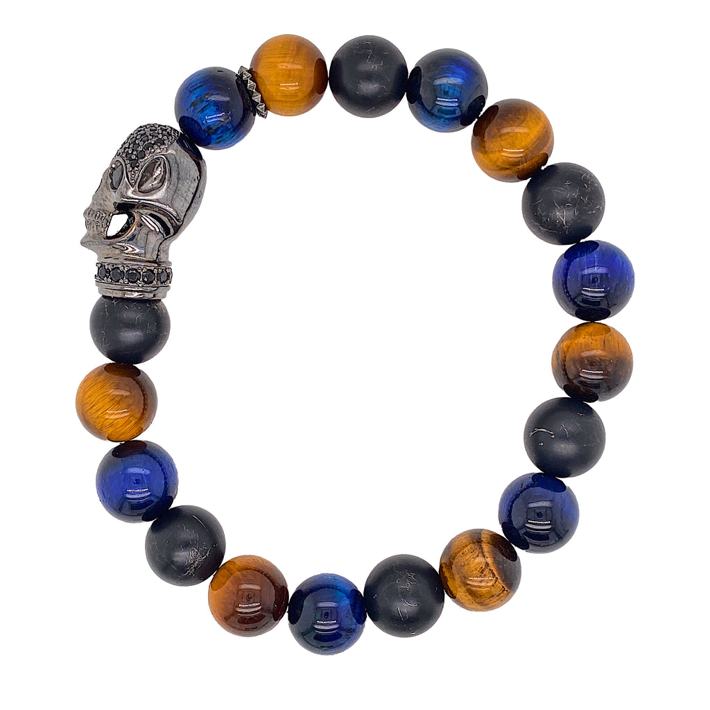 Skull Beaded Bracelet - Tiger Eye / Lapis Lazuli