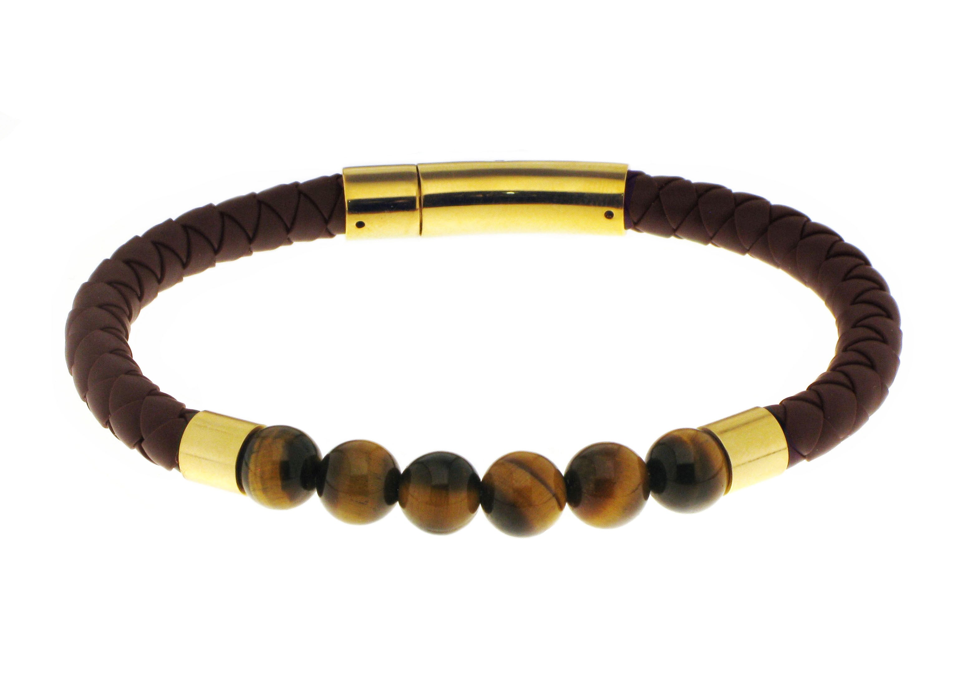 Tiger Eye Silicone Bracelet / Gold Accent