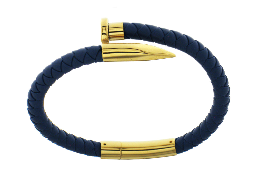 Nail Bracelet - Blue Silicone / Gold Plated