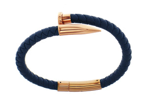 Nail Bracelet - Blue Silicone / Rose Gold Accent