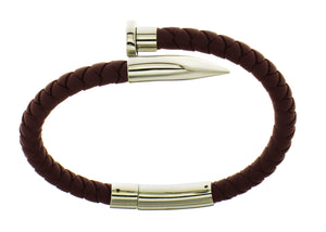 Nail Bracelet - Brown Silicone / Silver Accent