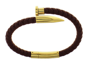 Nail Bracelet - Brown Silicone / Gold Accent