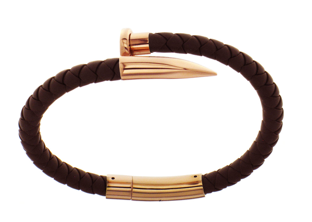 Nail Bracelet - Brown Silicone / Rose Gold Accent