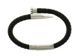 Nail Bracelet - Black Silicone / Silver Accent