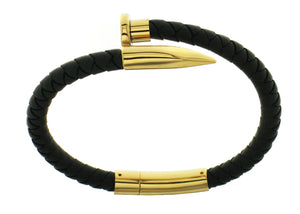 Nail Bracelet - Black Silicone / Gold Accent