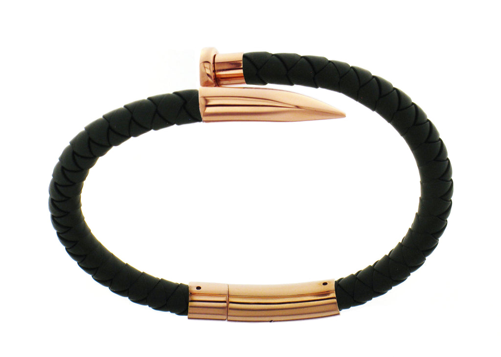 Nail Bracelet - Black Silicone / Rose Gold Accent