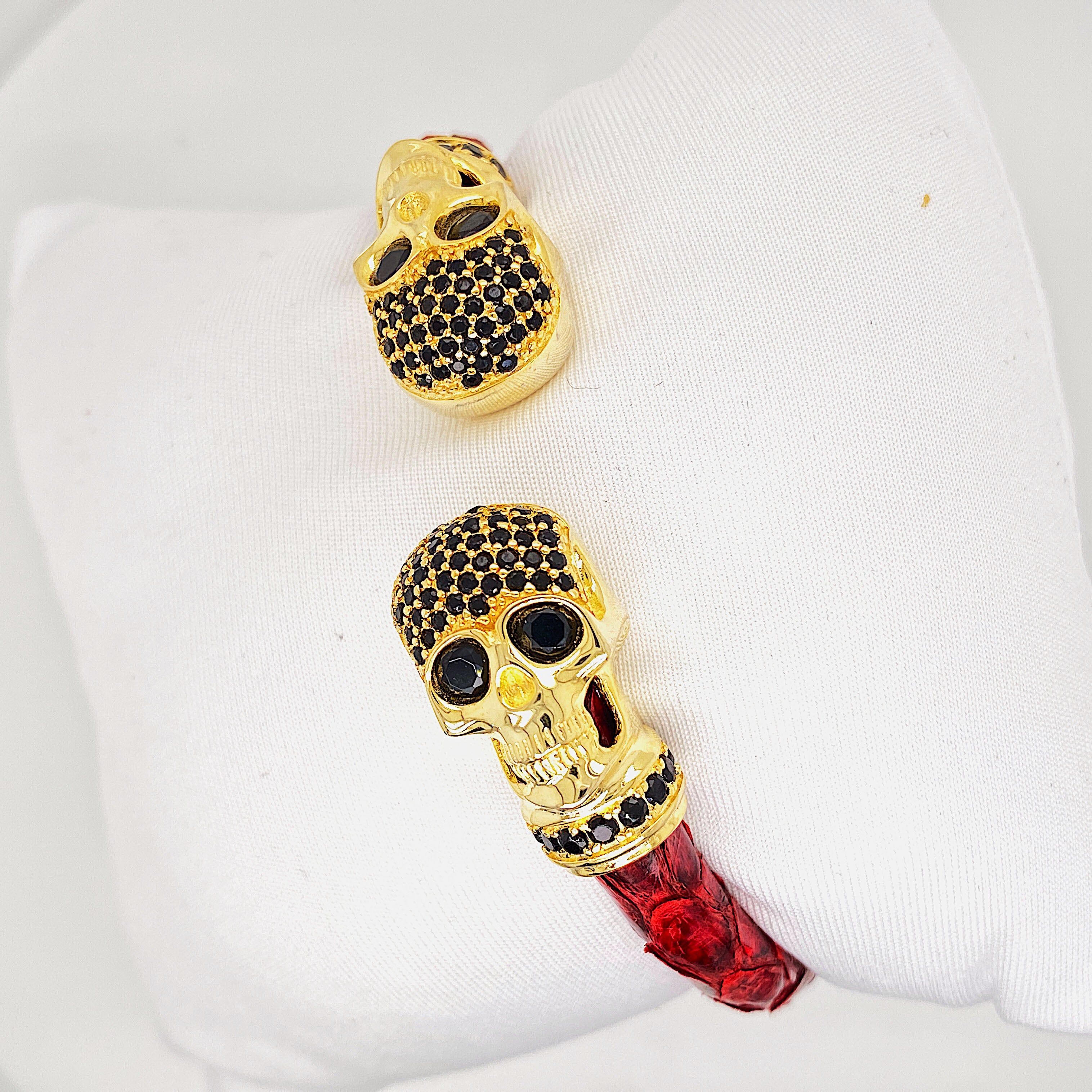 Red Python Bracelet - Gold Skull Head