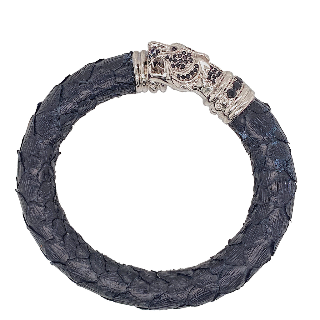 Black Python Bracelet - Tiger Head