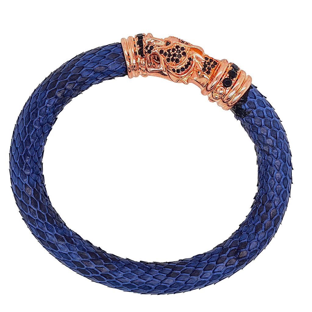 Tiger Head - Blue Python Bracelet