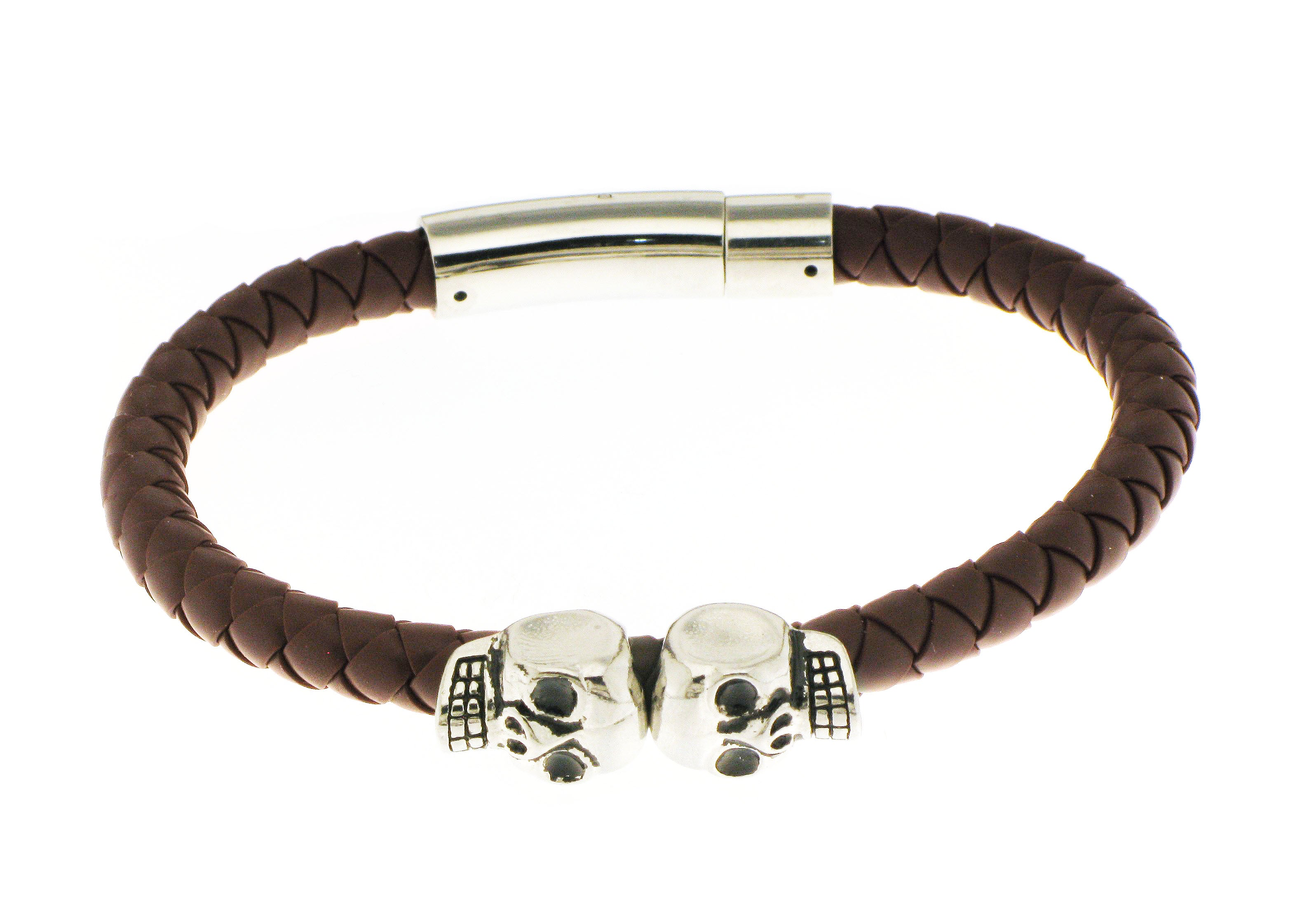 Double Skull - Brown Silicone / Silver Accent