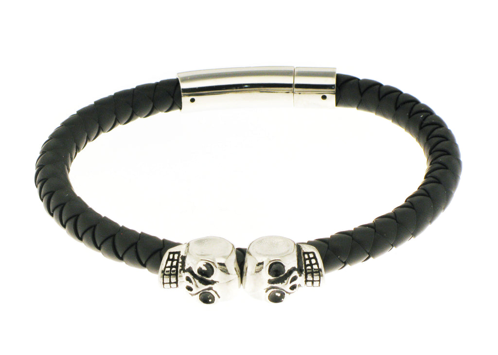 Double Skull - Black Silicone / Silver Accent