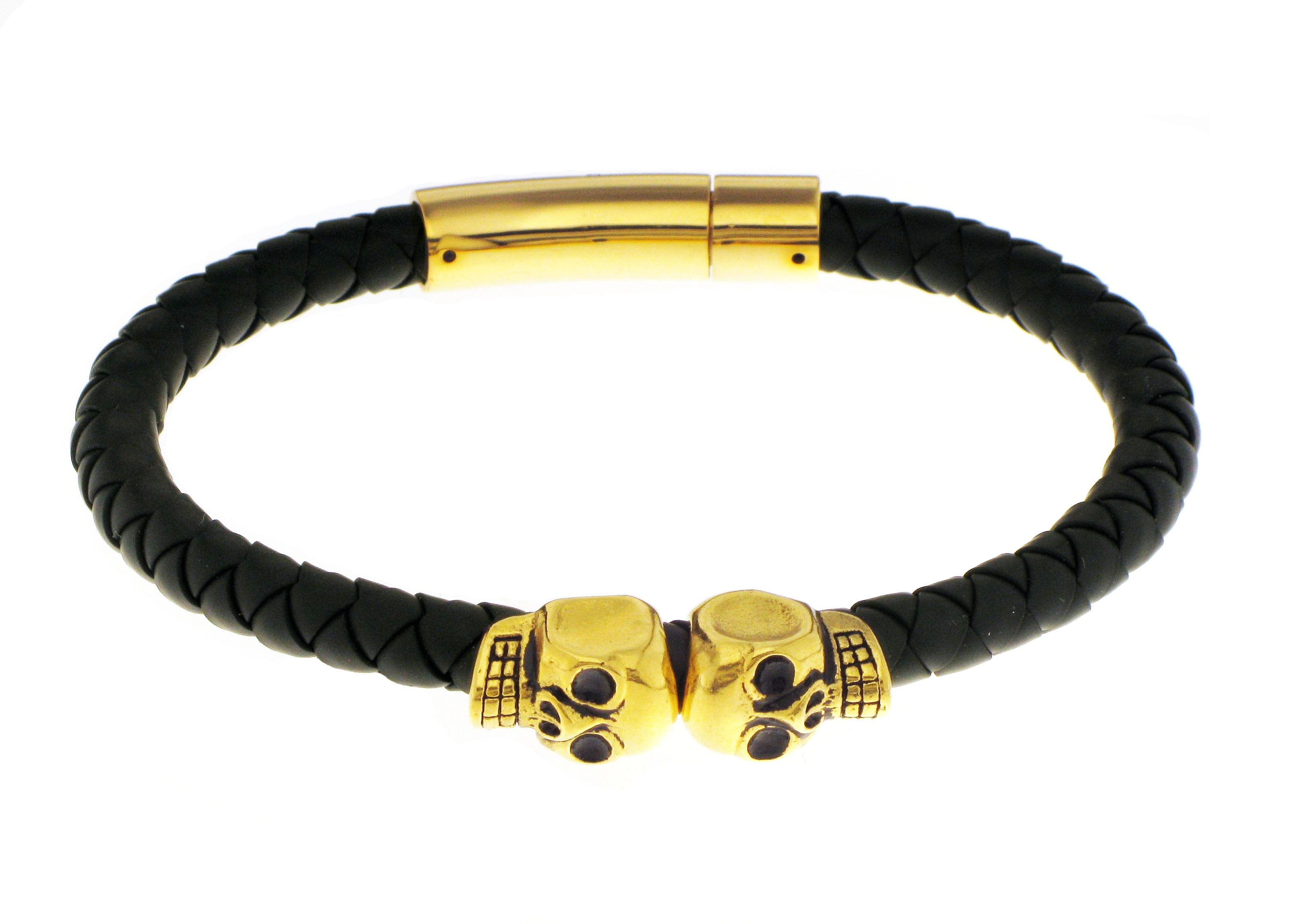 Double Skull - Black Silicone / Gold Accent