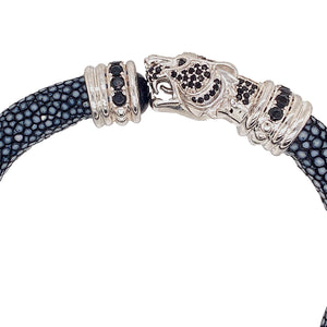 Navy Blue Stingray Bracelet - Tiger Head