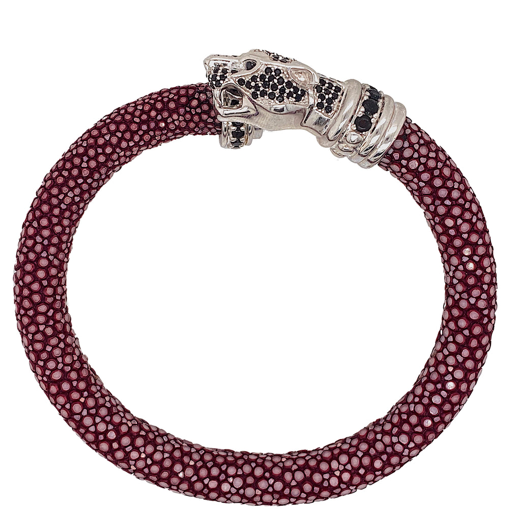 Tiger Head - Maroon Stingray Bracelet