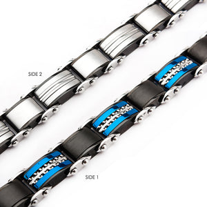 Stainless Steel Black Plated Blue Plated Link Bracelet