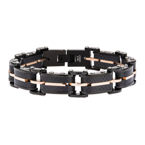 Solid Carbon Graphite and Rose Gold Plated Link Bracelet