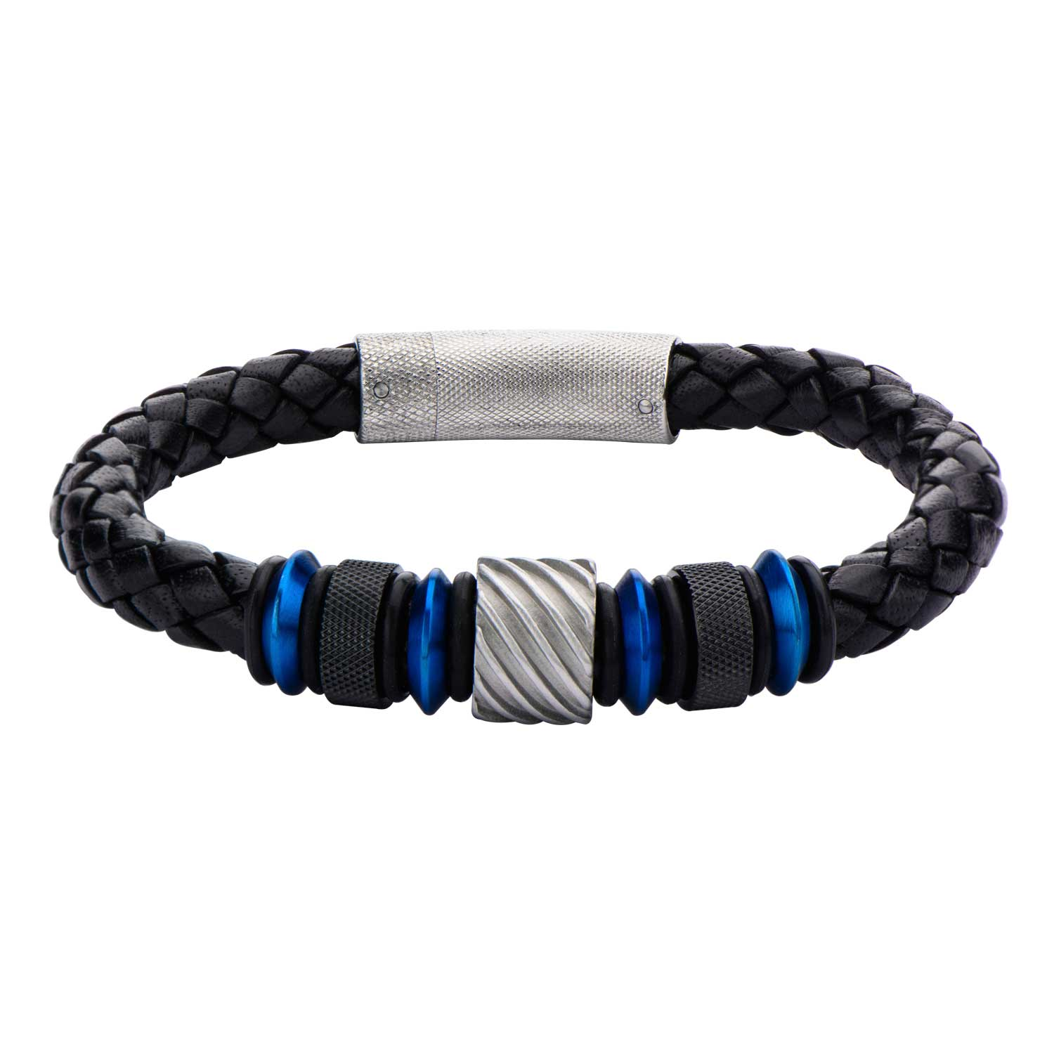 Stainless Steel Blue Plated Black Plated Leather Bracelet