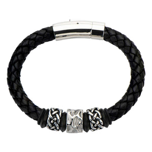 Celtic Knot Bead in Black Braided Leather Bracelet